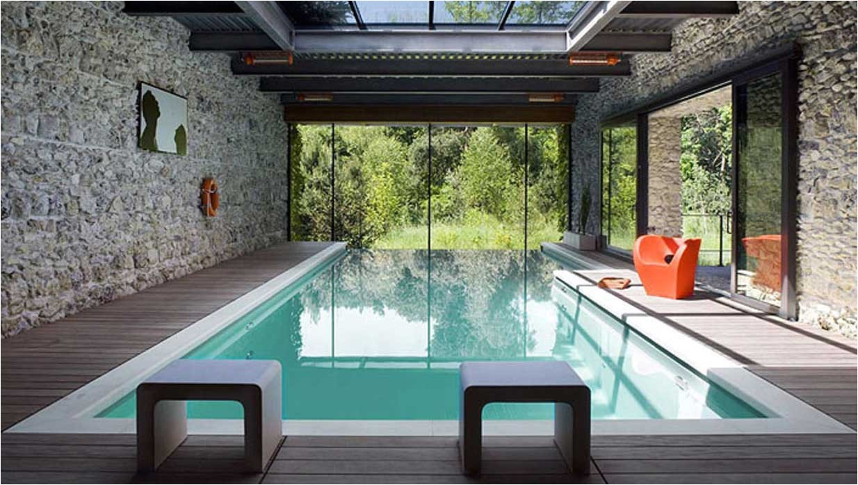 modern indoor swimming pool with awesome design ideas with glass roof
