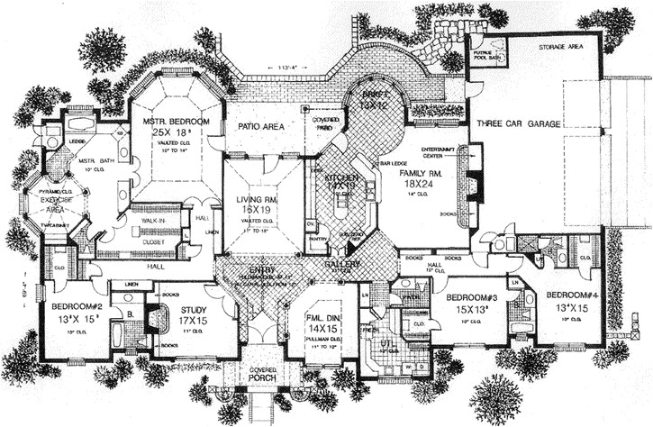 european style house plans 4615 square foot home 1 story 4 bedroom and 4 bath 3 garage stalls by monster house plans plan8 600