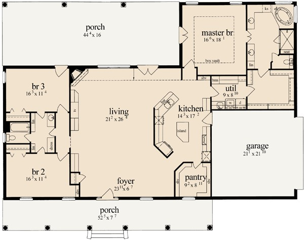french country style house plans 2405 square foot home 1 story 3 bedroom and 2 bath 2 garage stalls by monster house plans plan18 425
