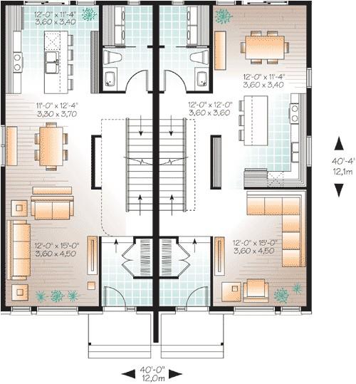 narrow lot multi family home plan 22327dr