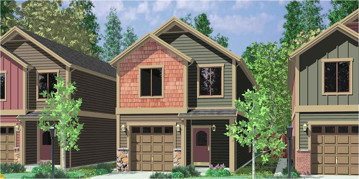 narrow house plans with garage underneath