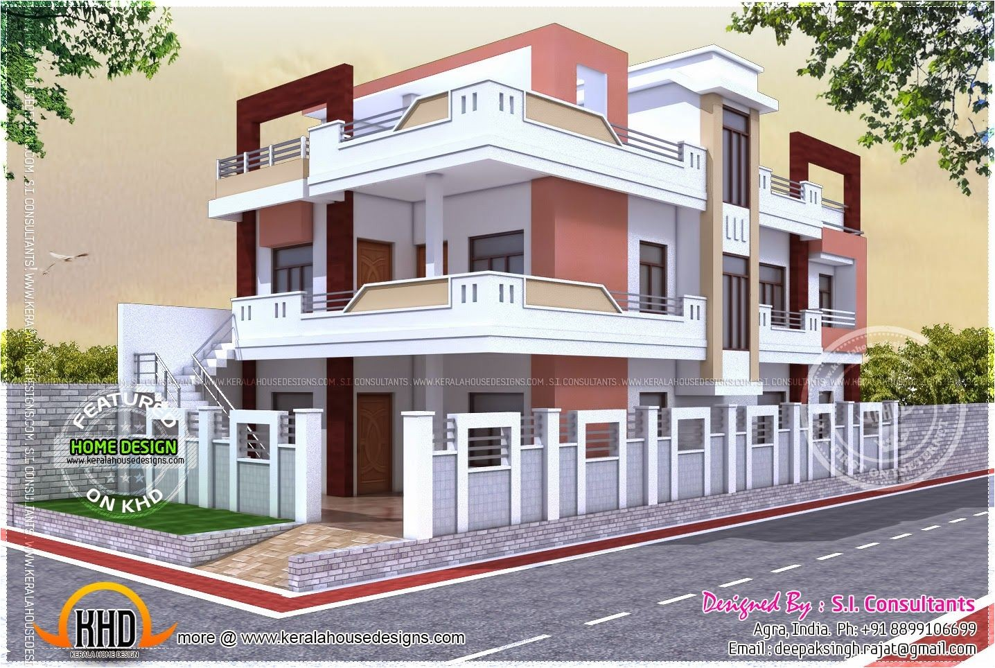 single story parapet design for house