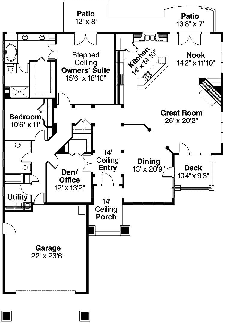 Modern Two Bedroom House Plans With Patio And Garage