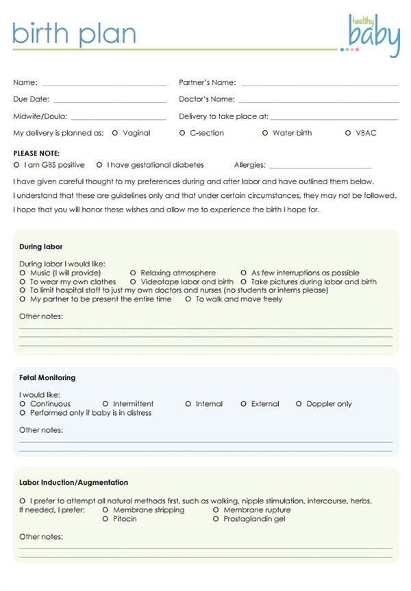 birth plan template