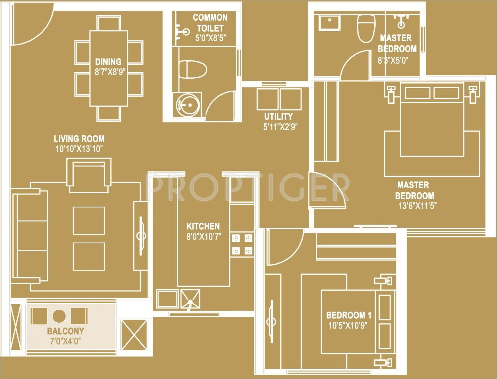 2bhk 1t 1179 sqft apartment