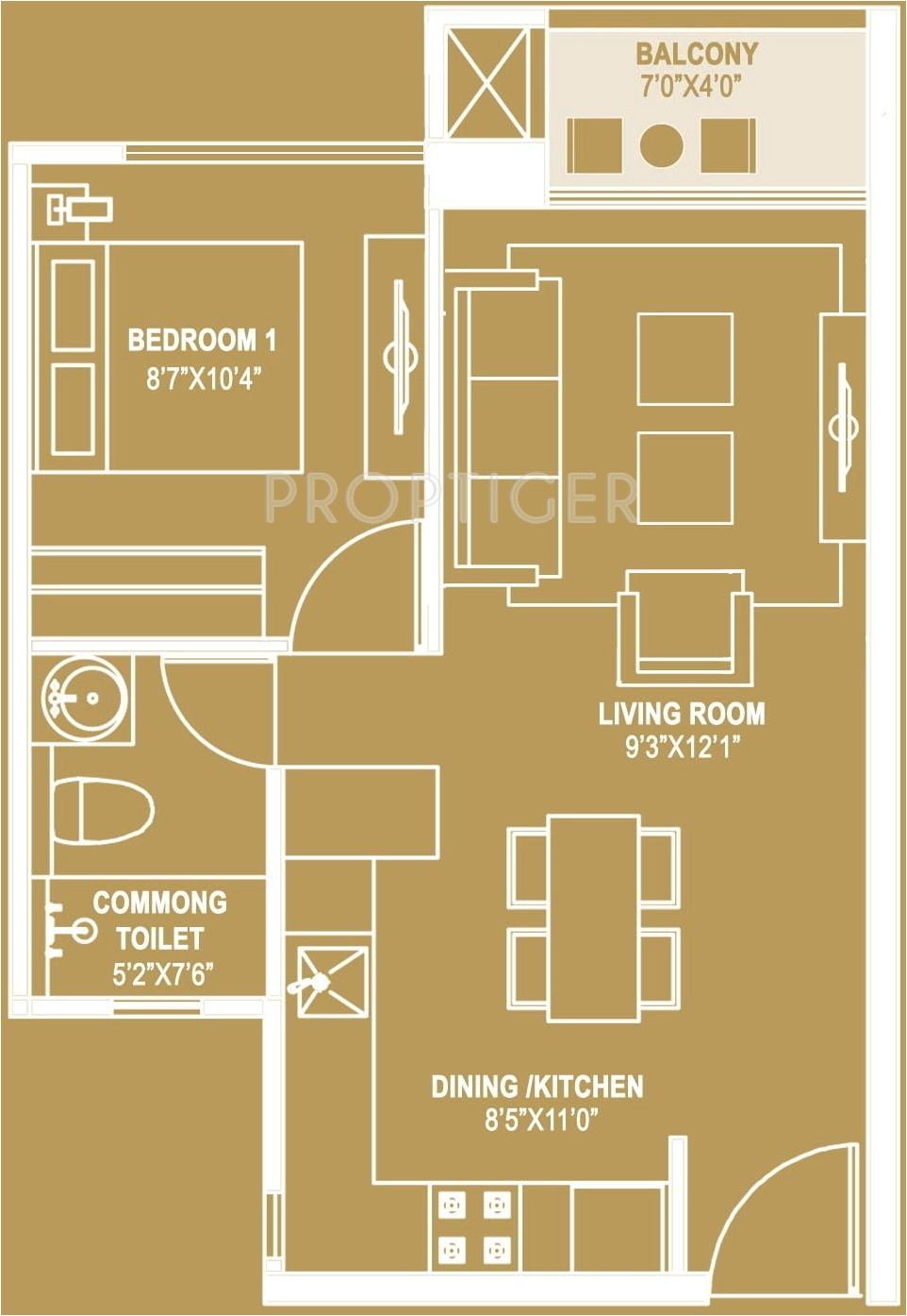 1bhk 1t 595 sqft apartment