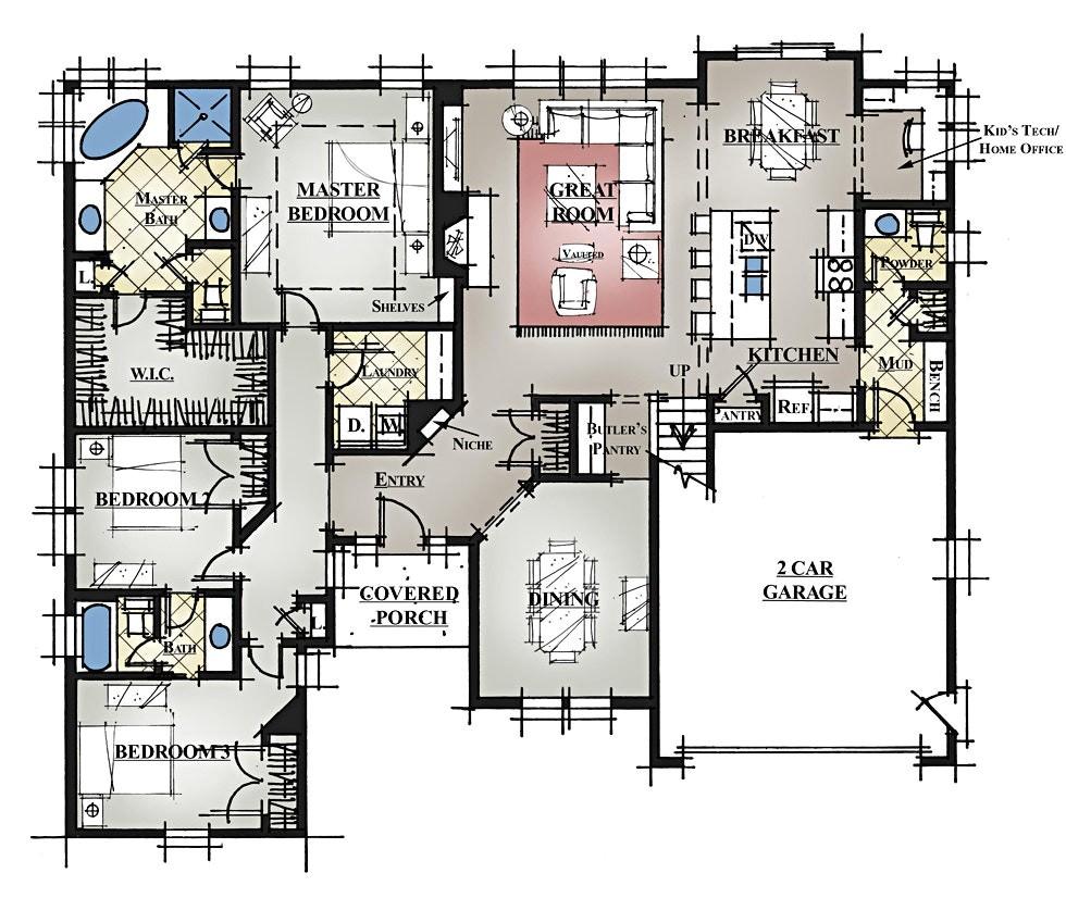 rambler floor plans with bonus room over garage