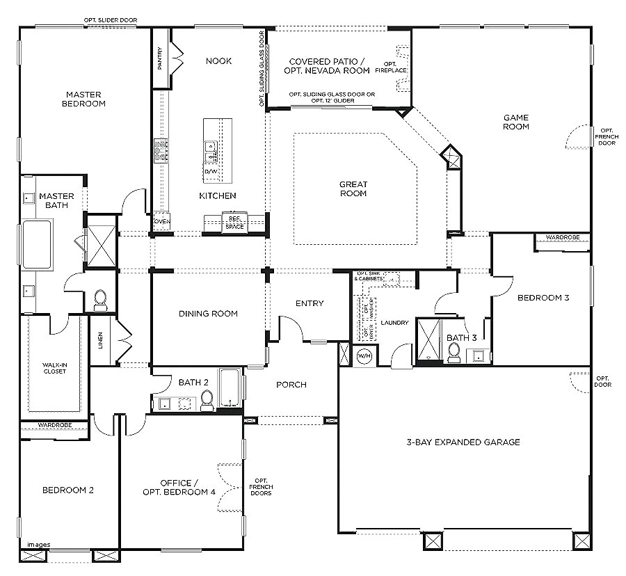 ranch style house plans with bedrooms together new ranch style house plan 4 beds 2 00 baths 2700 sq ft plan 481 7
