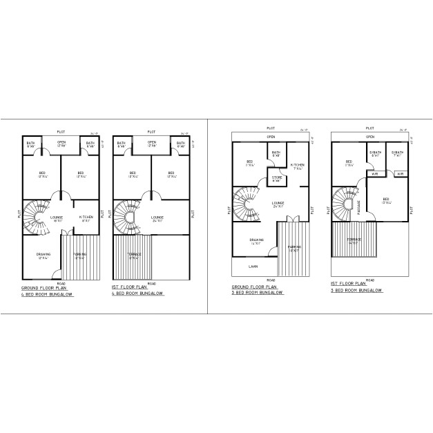 residential building in autocad plan for 2d with dimensions