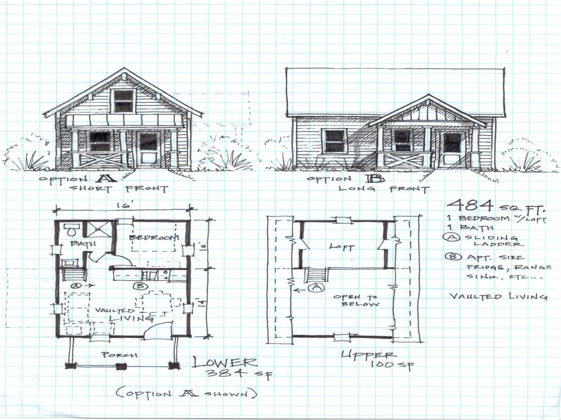 floor plan for a 2 bedroom cabin with a loft