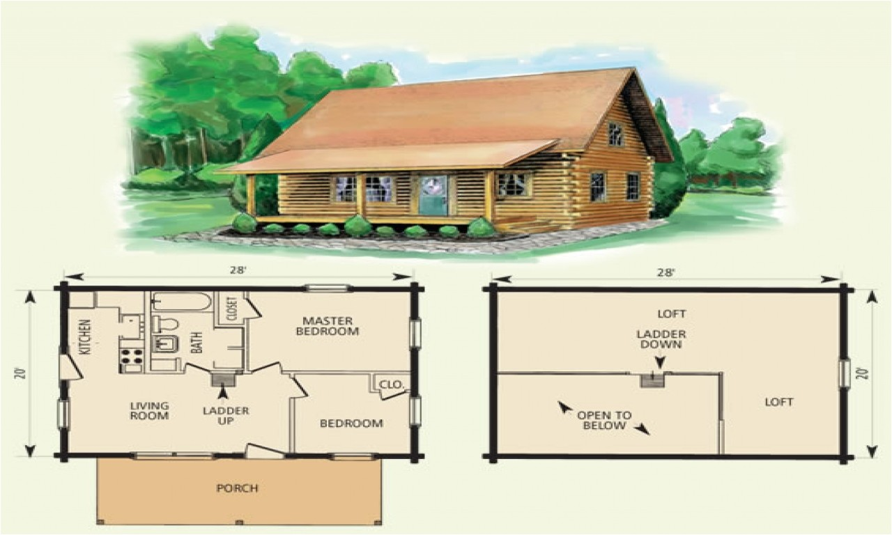 tiny log cabin plans with loft