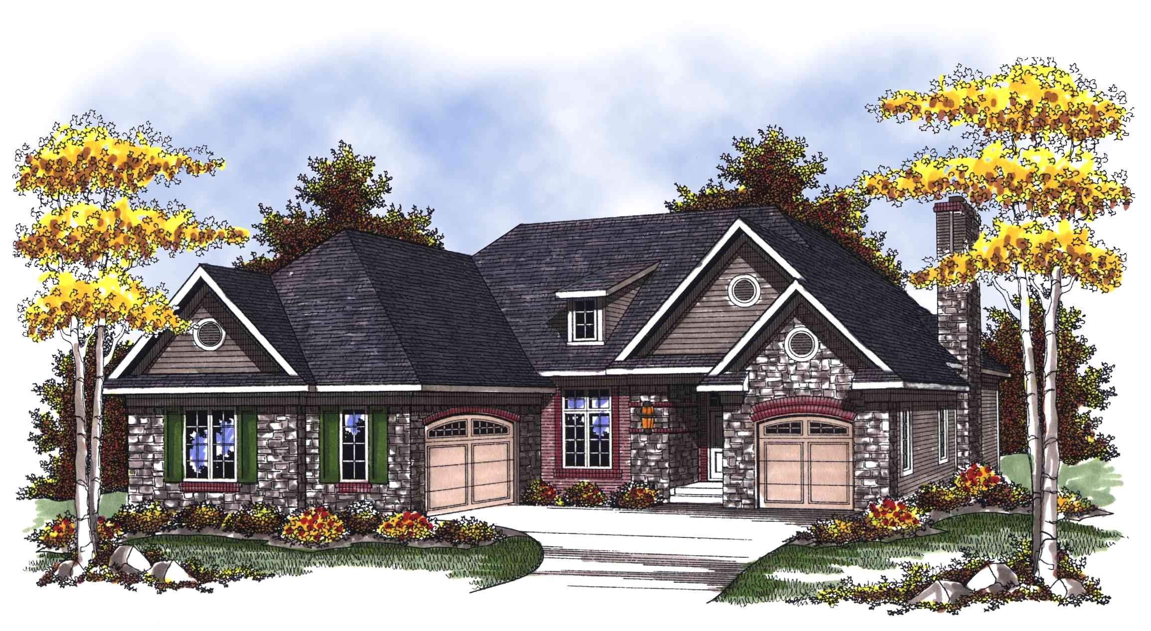 Split Plan Home Split Garage Ranch Home Plan 89266ah Architectural