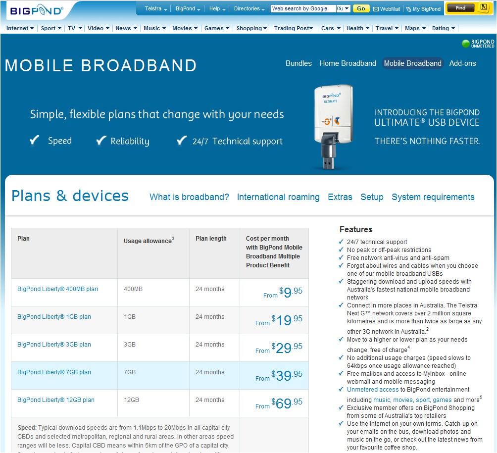 telstra home mobile internet plans