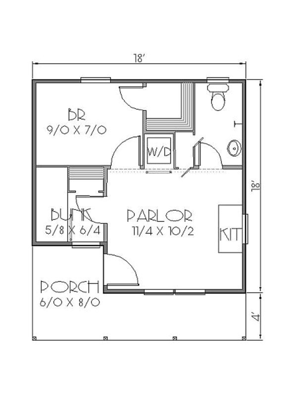 300 square feet 2 bedrooms 1 bathroom bungalow house plans 0 garage 35191