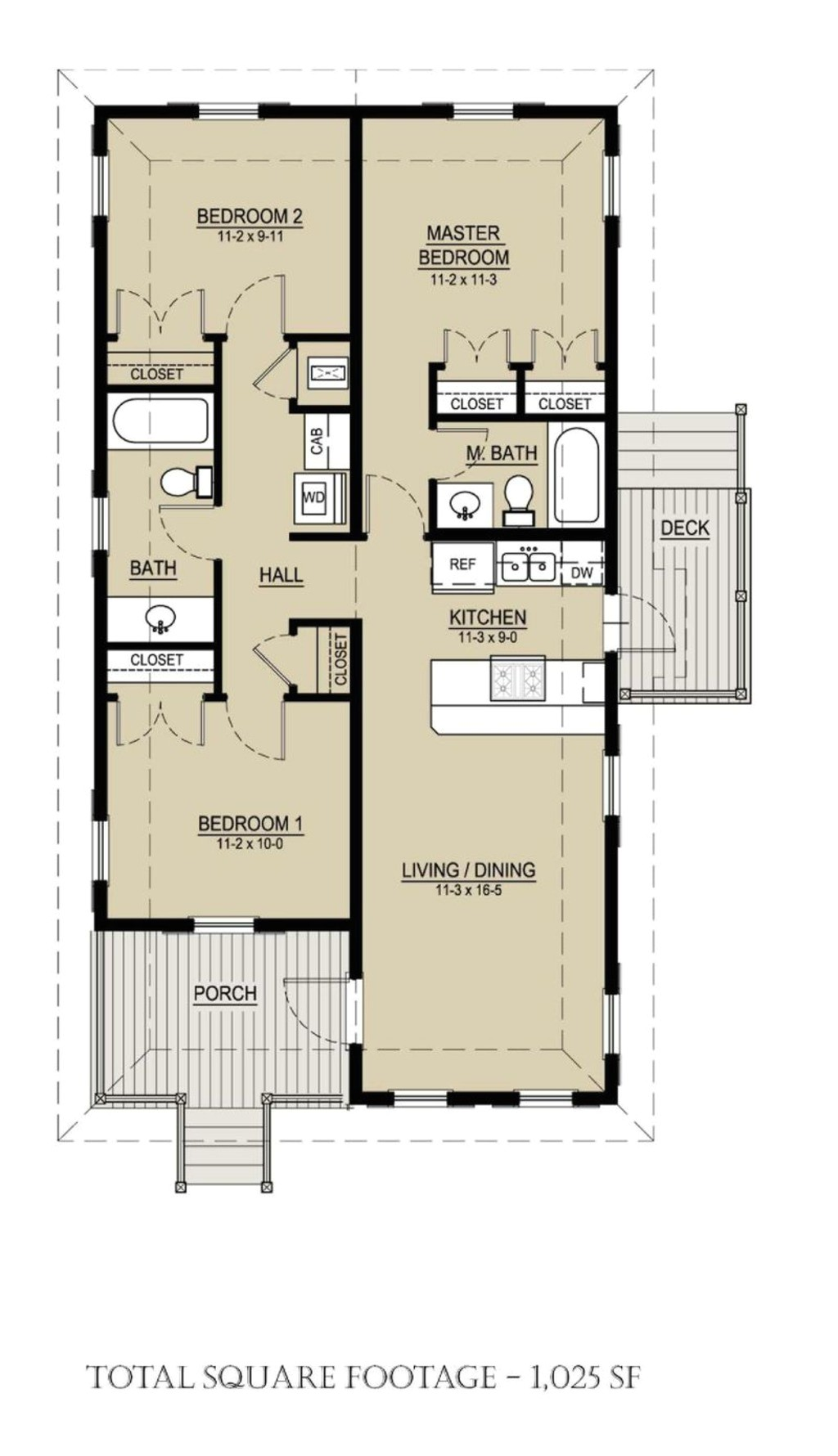 1025 square feet 3 bedrooms 2 bathroom cottage house plans 0 garage 36983