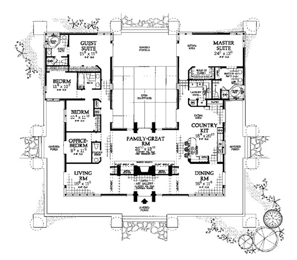 u shaped house plans with courtyard in middle