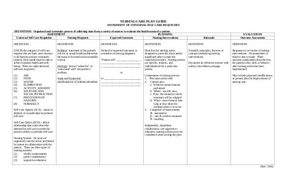 free nursing care plan templates