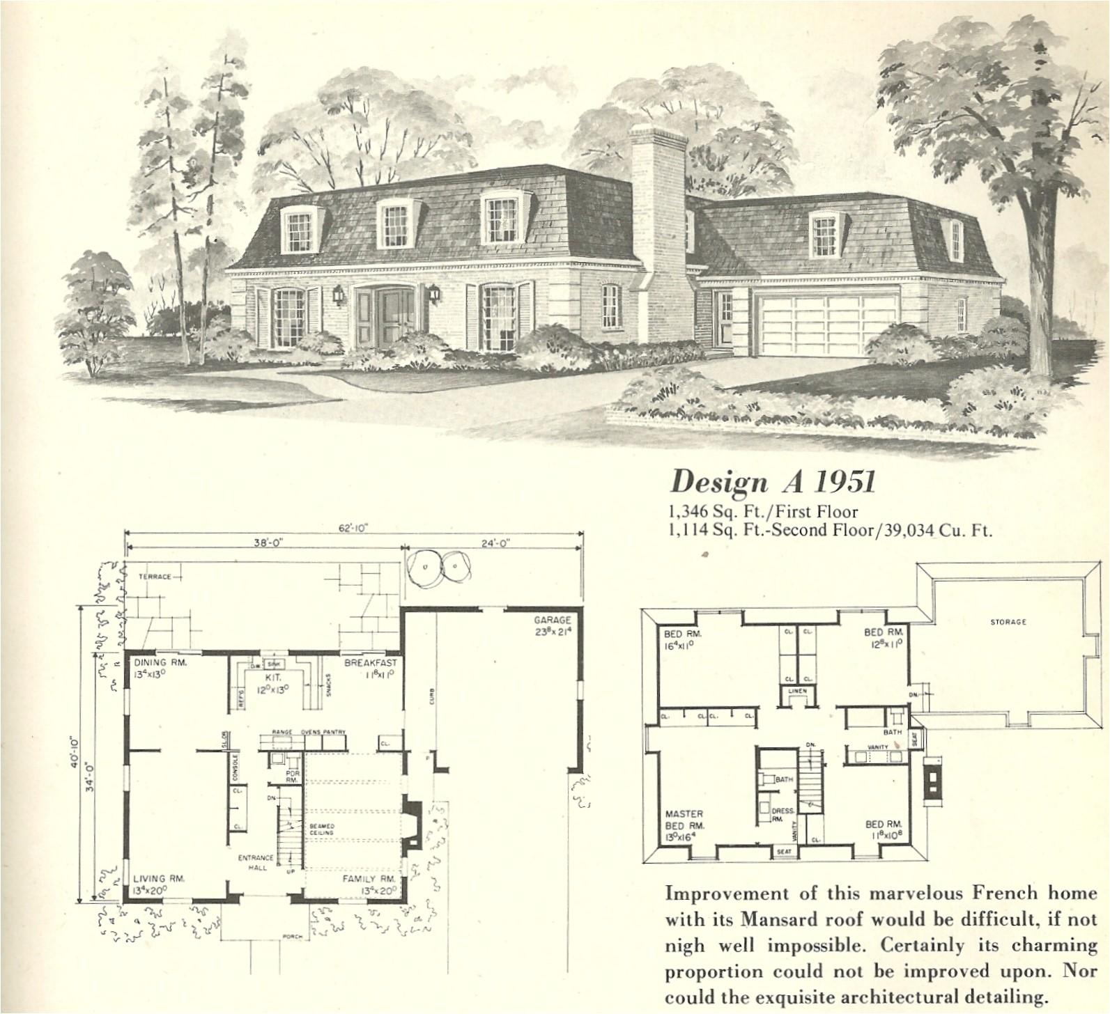 vintage house plans french mansards 6