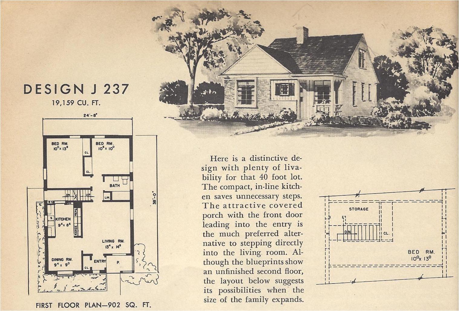vintage house plans j237