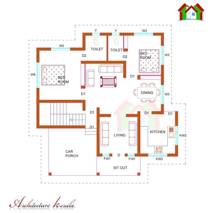 2 bedroom house plans kerala style 1200 sq feet