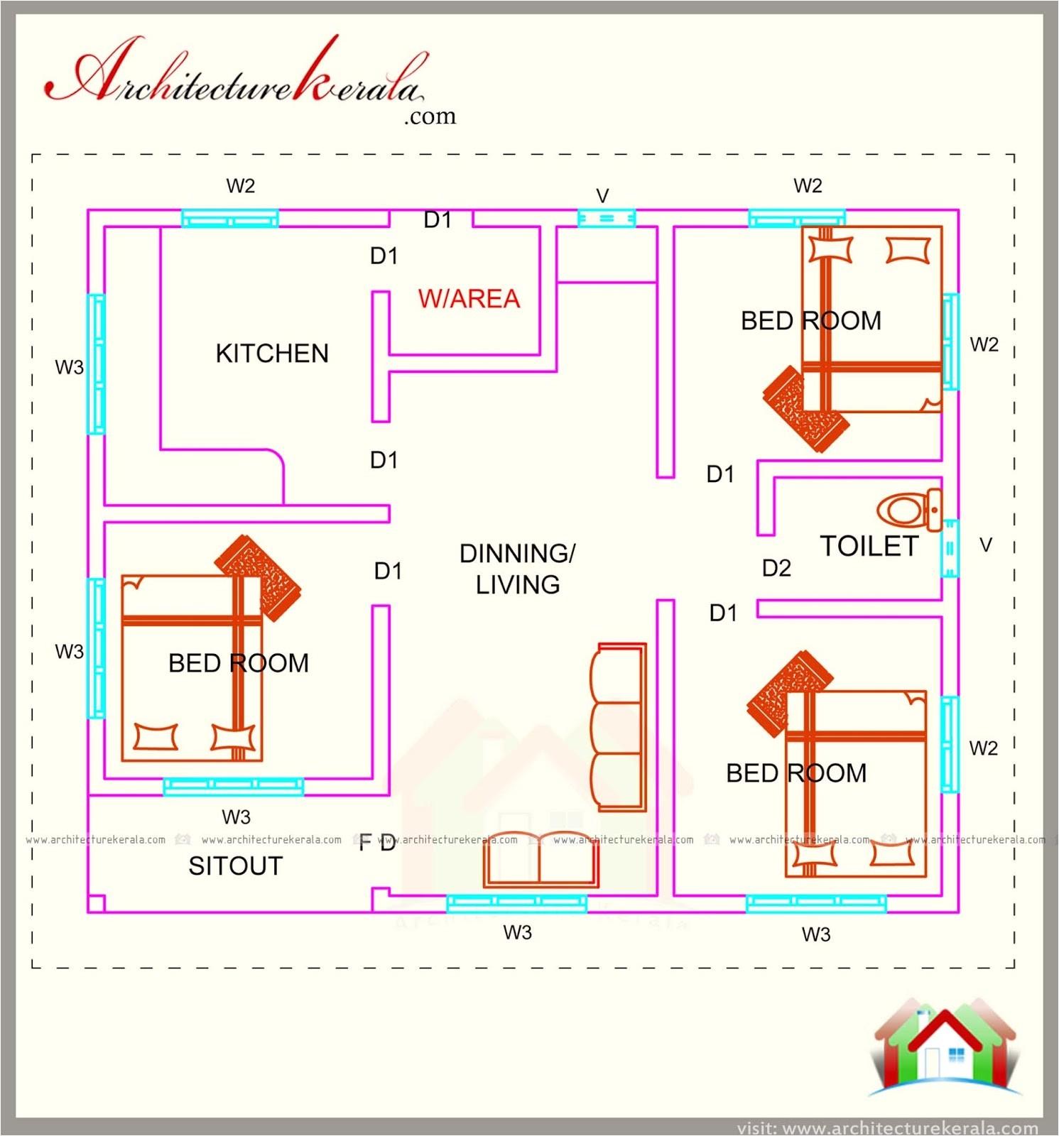 760 square feet 3 bedroom house plan
