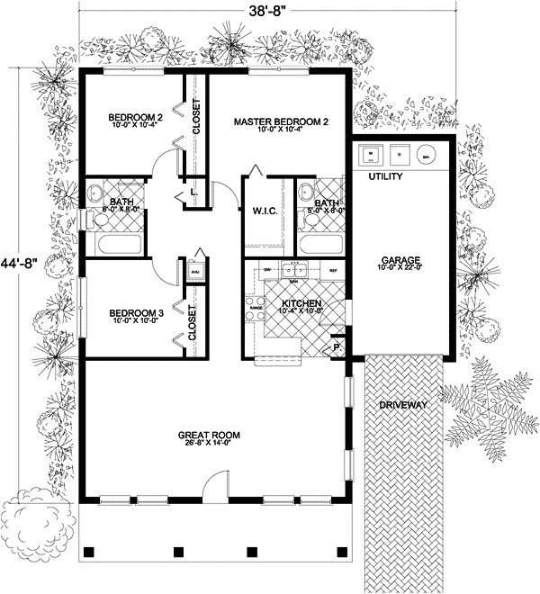 1250 sq ft home 1 story 3 bedroom 2 bath house plans plan37 103
