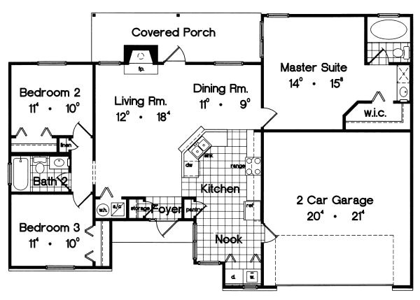 1300 square feet 3 bedrooms 2 bathroom ranch house plans 2 garage 27006