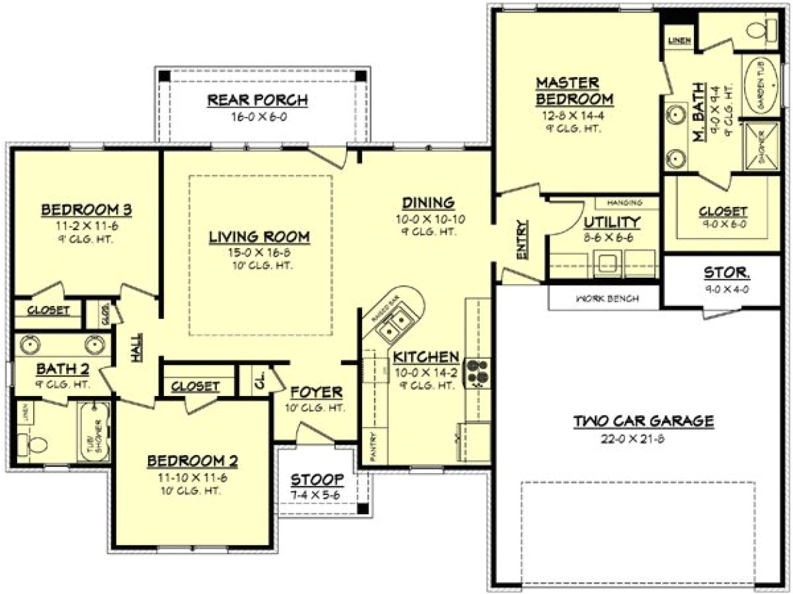 7ae753a1485b7dff 1100 square feet 1500 square feet 3 bedroom house plan