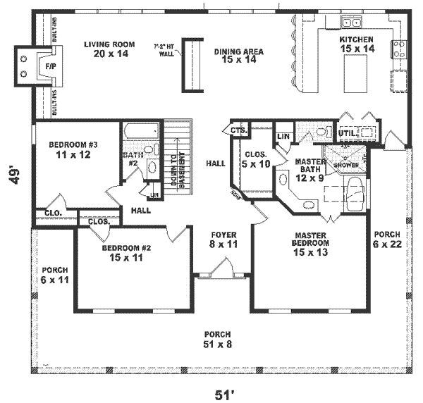 one story house plans 1500 square feet 2 bedroom square feet 3 bedrooms 2 batrooms on 1 levels floor plan number 1