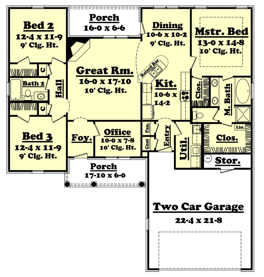 1700 Sf Ranch House Plans Traditional Style House Plan 3 Beds 2 00 Baths 1700 Sq