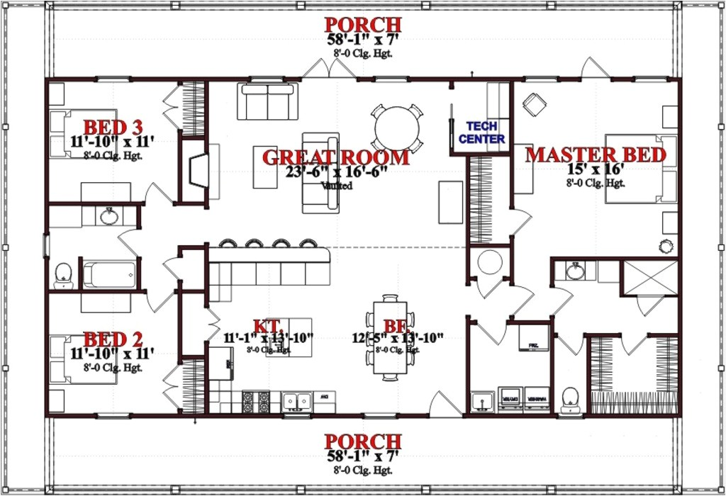 1800 square feet 3 bedrooms 2 bathroom ranch house plans 0 garage 37049