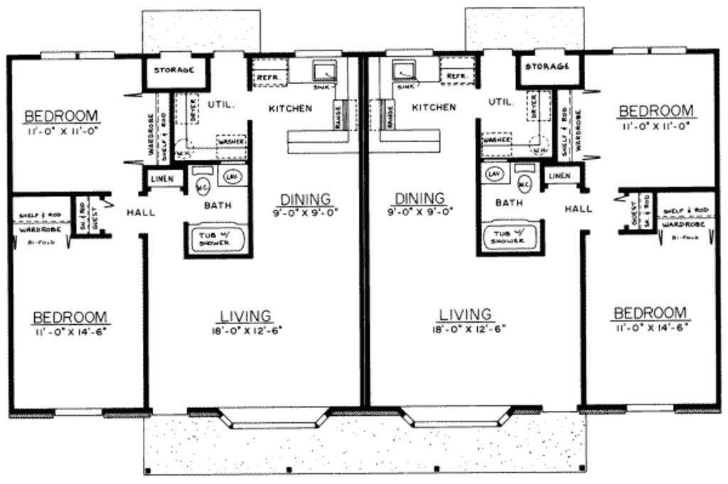 1800 square feet 2 bedrooms 1 bathroom ranch house plans 0 garage 18664