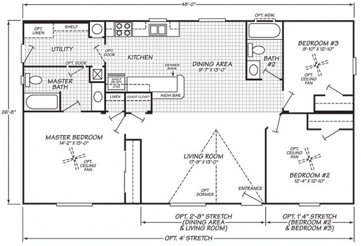 1999 fleetwood mobile home floor plan