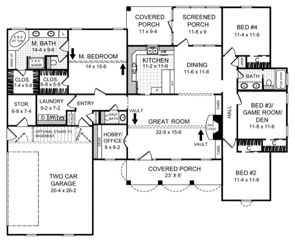 2000 sq ft home 1 story 4 bedroom 2 bath house plans plan2 205
