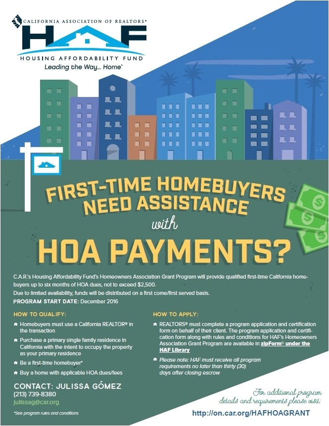 first time home buyer hoa payment assistance