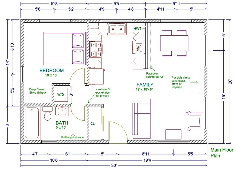 20x30 cabin floor plans