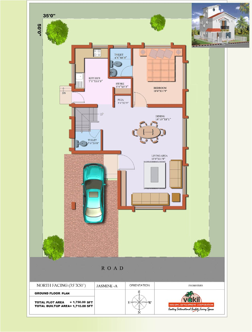40 x 30 house plans east facing