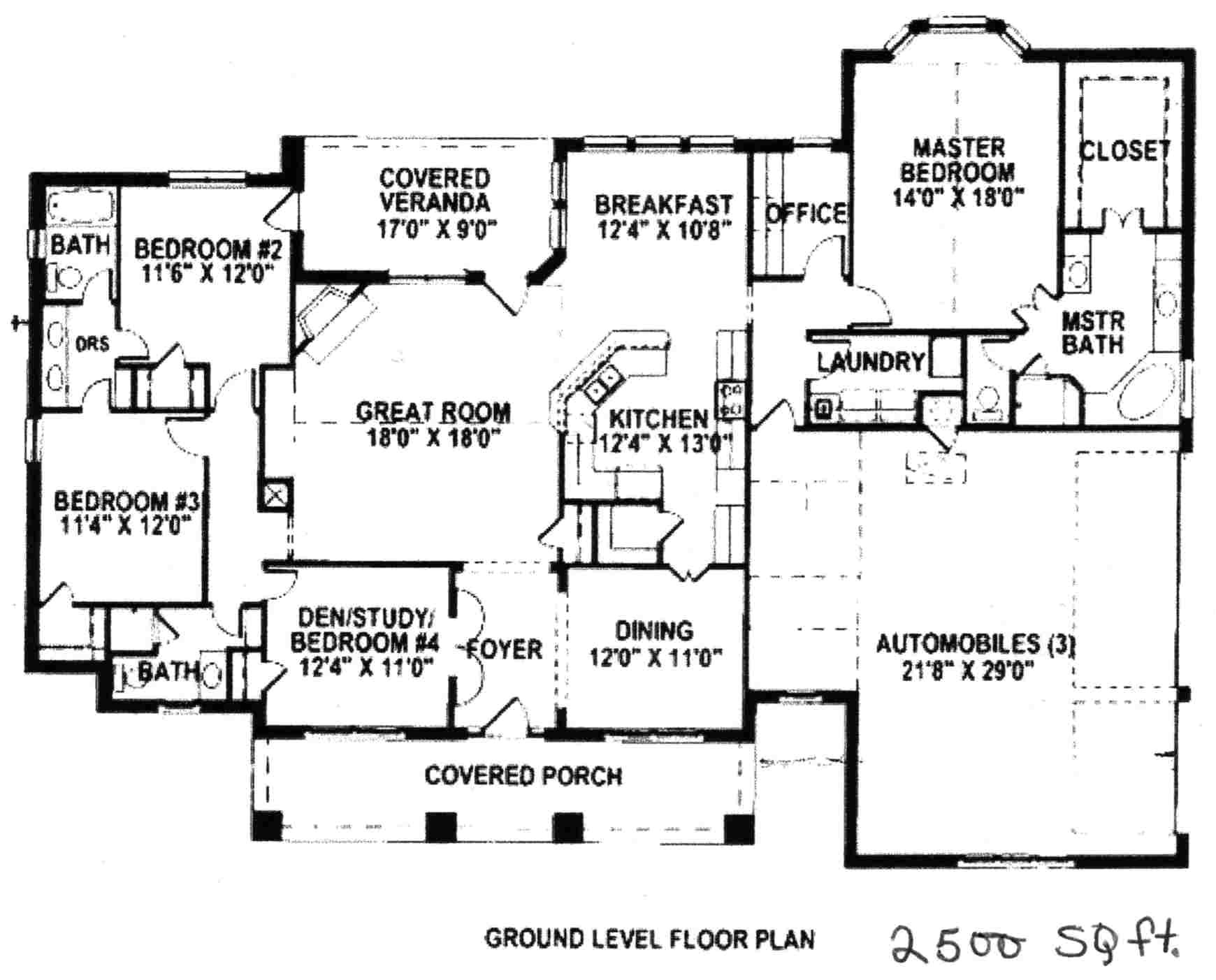 ranch house plans under 2500 square feet