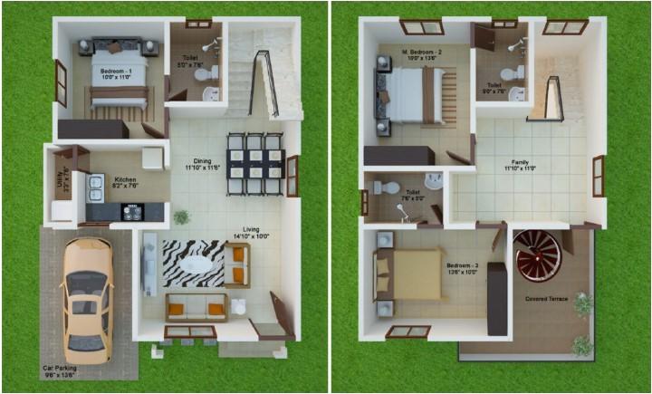 15 feet 40 east facing beautiful duplex home plan