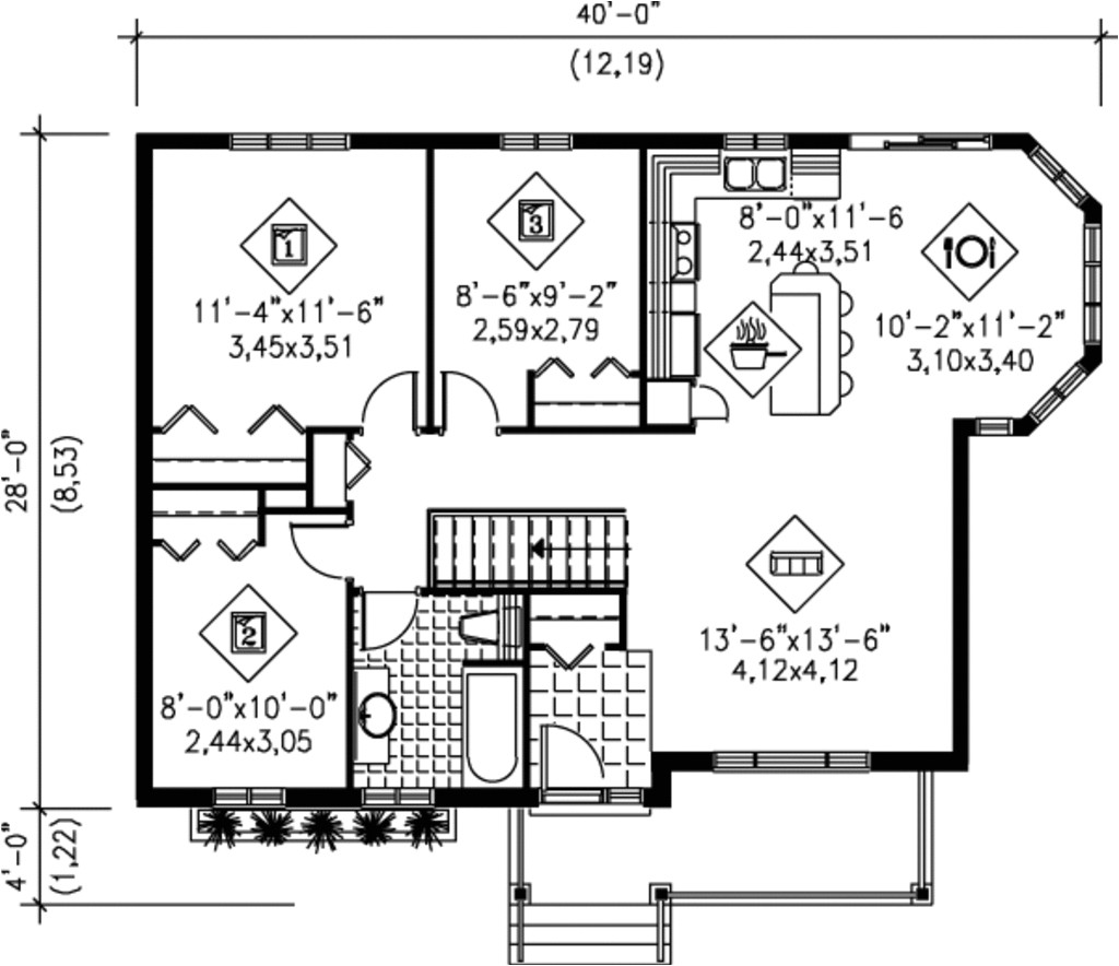 1007 square feet 3 bedrooms 1 bathroom country house plans 0 garage 1540
