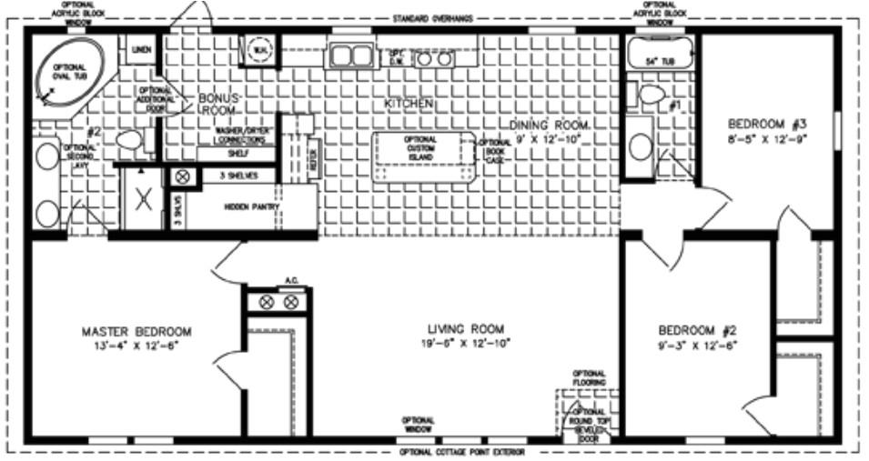 3 Bedroom Manufactured Homes Floor Plans 3 Bedroom Mobile Home Floor Plan Bedroom Mobile Homes