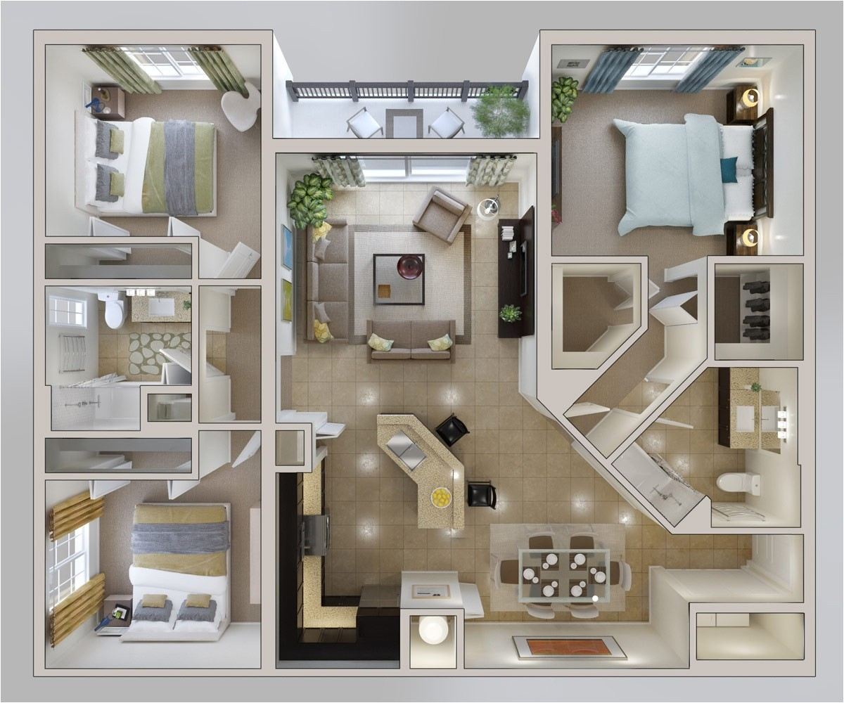 3 bedroom apartmenthouse plans