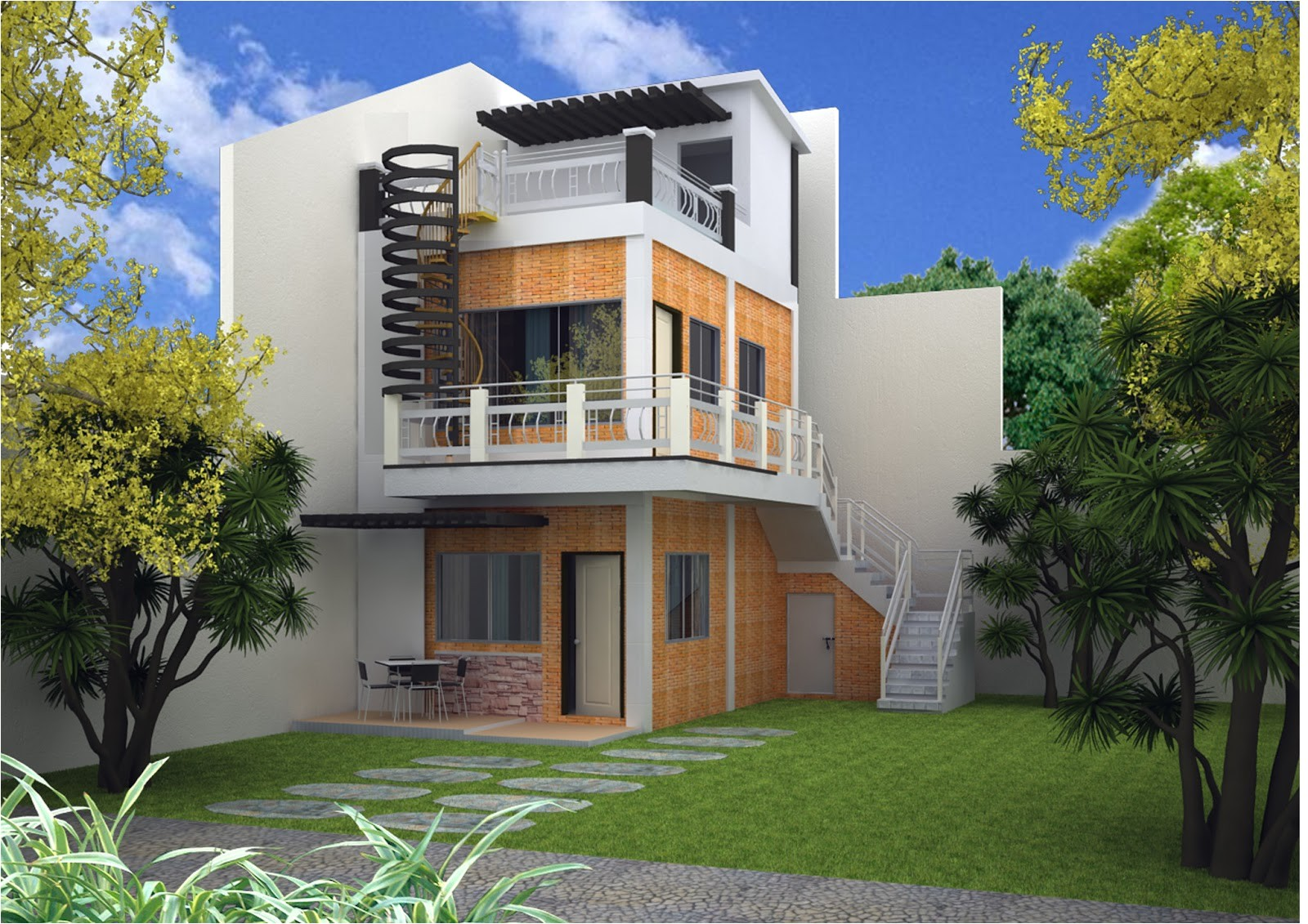3 story house plans roof deck