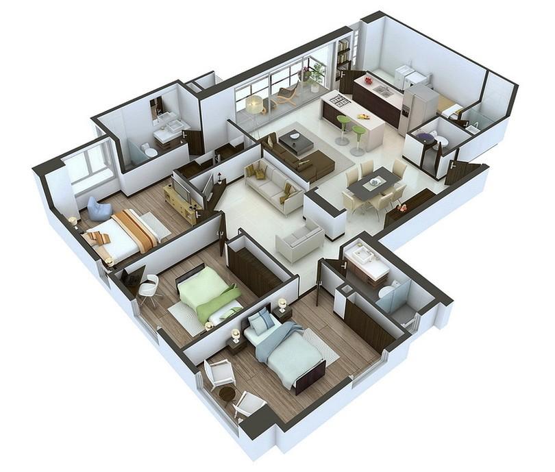 3d Home Floor Plan Design 25 More 3 Bedroom 3d Floor Plans