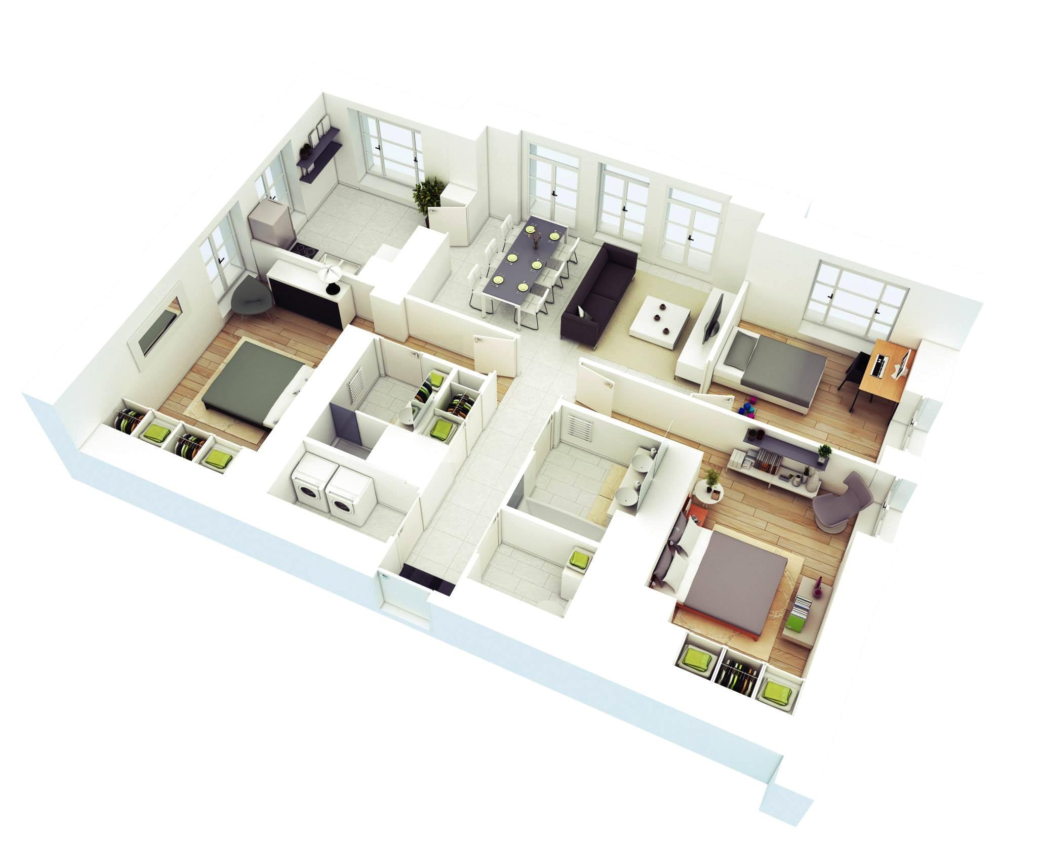 3d Plan Home Design 25 More 3 Bedroom 3d Floor Plans