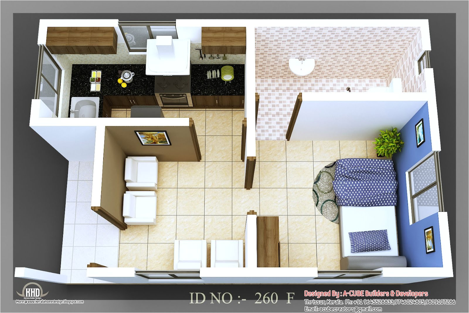 3d isometric small house plans