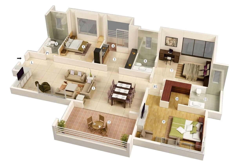 3d Small Home Plan Ideas 3 Bedroom House Plans 3d Design 7 House Design Ideas