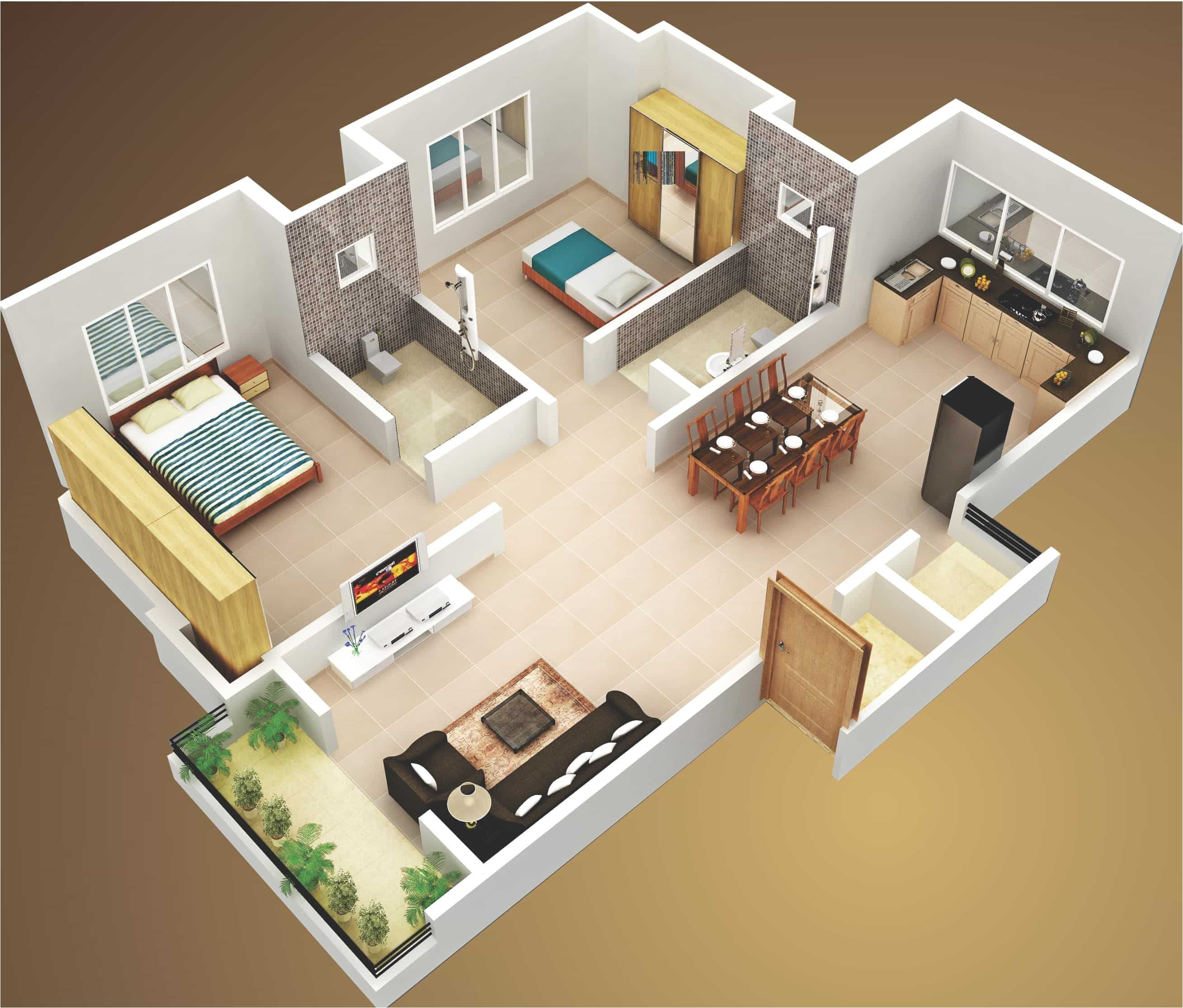 attractive simple house design plans 3d 2 bedrooms ideas also in bedroom with single bathroom pictures interior two