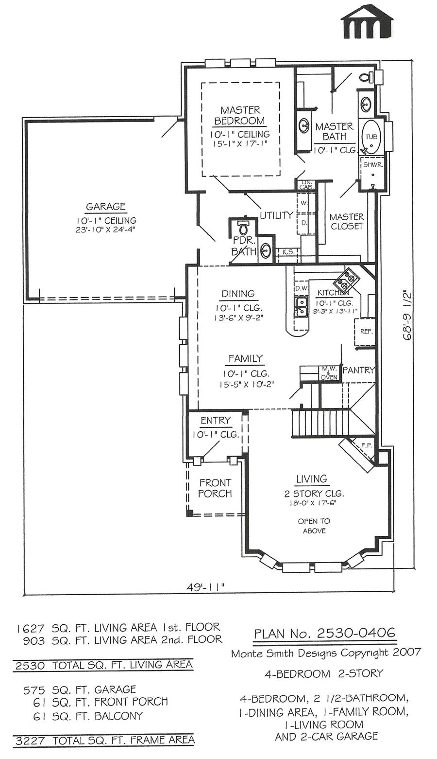 2530 0406 4 room home house plans