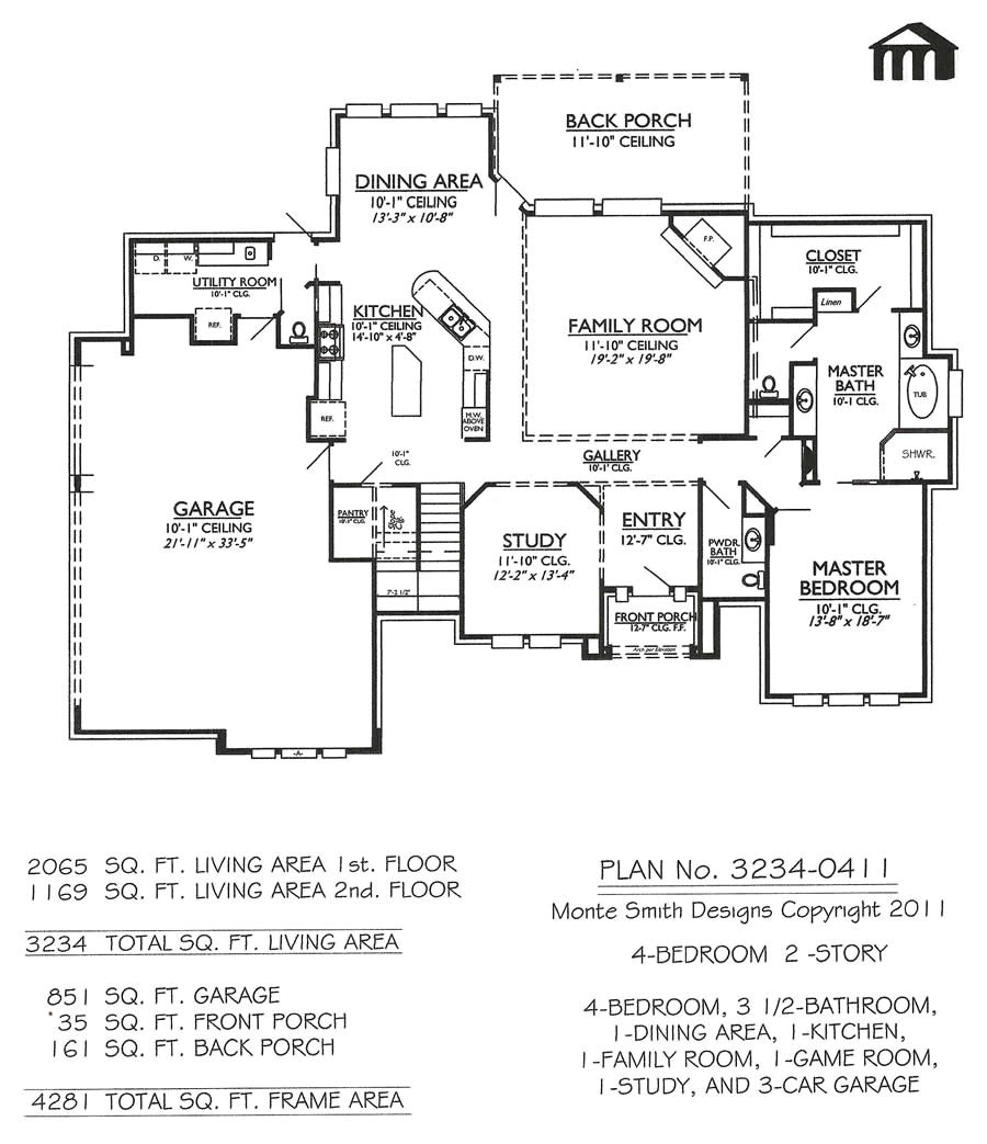 3234 0411 4 room home house plans